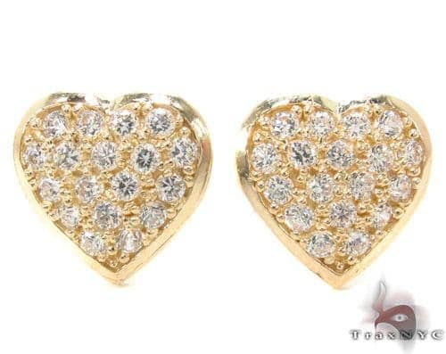 CZ 10K Gold Heart Earrings 34228 Metal