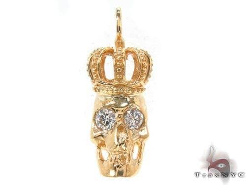 Bezel Diamond Crown Skull Pendant 34380 Style