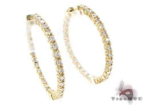 Prong Diamond Gold Hoop Earrings 34495 Style