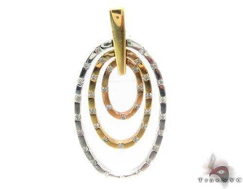 Prong Diamond Three Tone Gold Pendant 34506 Stone