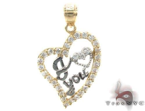 CZ 10K Gold Heart Pendant 34795 Metal