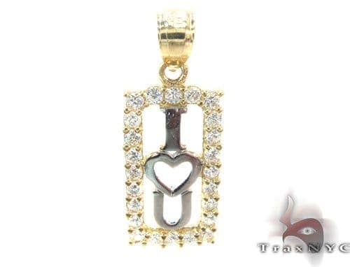 CZ 10K Gold I Heart You Pendant Metal
