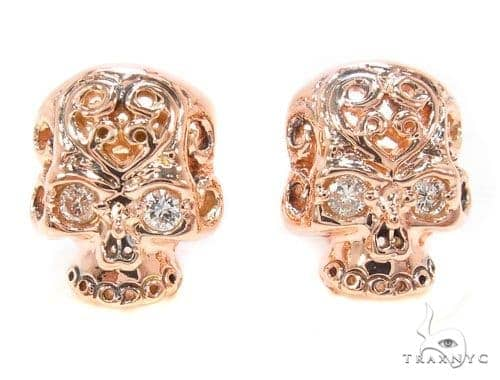 Mens Rose Gold Skull Earrings Style