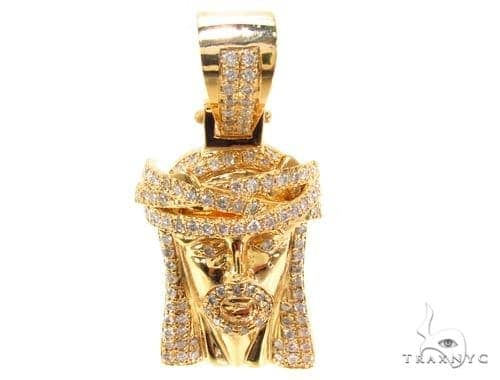 10K Prong Diamond Jesus Pendant 35224 Style