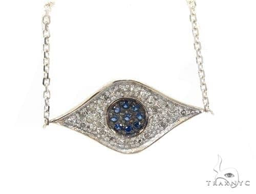 Prong Diamond Sapphire Gemstone Necklace 35273 Gemstone
