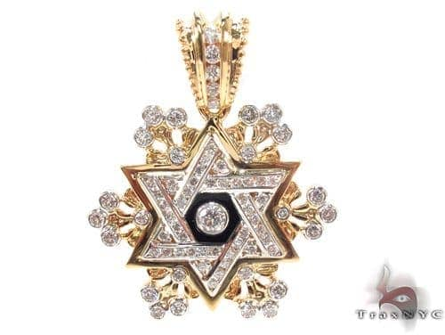 Diamond Star of David Pendant 3 Metal
