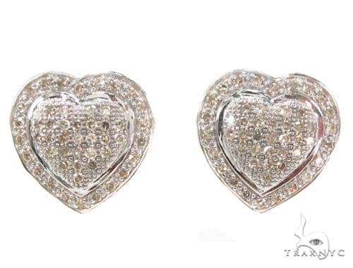 Prong Diamond Heart Earrings 35303 Stone