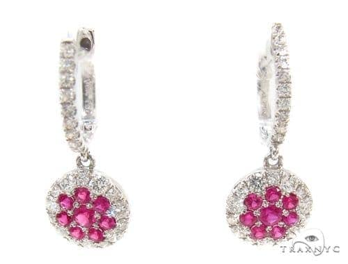 Pink Sapphire & Prong Diamond Earrings 35315 Stone