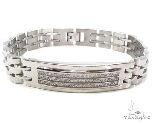 Mens CZ Stainless Steel Bracelet Stainless Steel