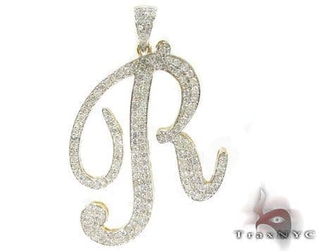 Prong Diamond R Pendant 35494 Metal