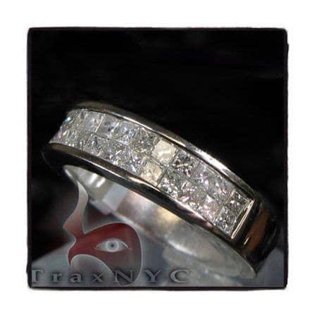 Guys White Gold Two Row  Princess Cut Wedding Ring 1625 Stone