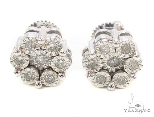 Diamond Flower Stud Earrings 35656 Stone