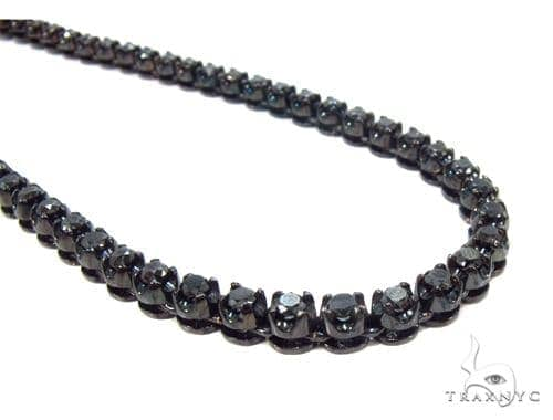 Prong Black Diamond Chain 26 Inches 4mm 64.70 Grams Diamond