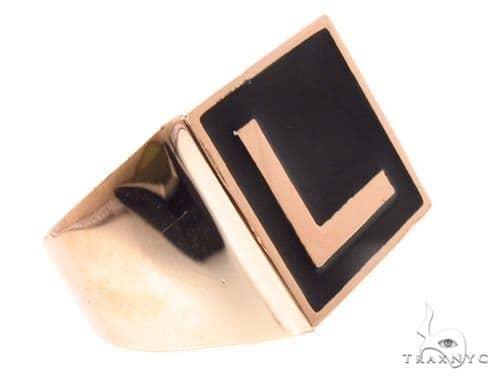 Custom L Initial Enamel Ring 35810 Metal