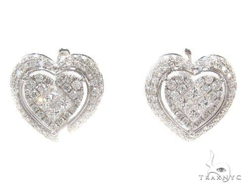Prong Diamond Heart Earrings 35926 Stone