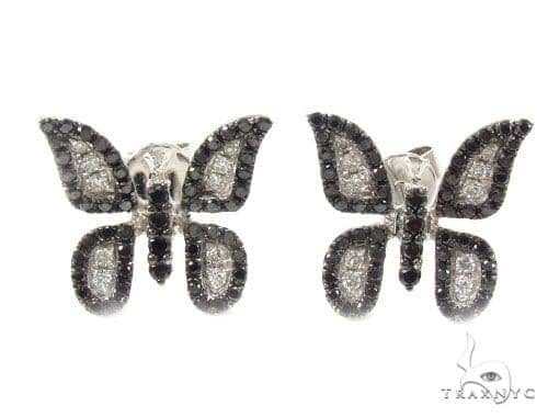 Prong Black and White Diamond Butterfly Earrings 35927 Stone