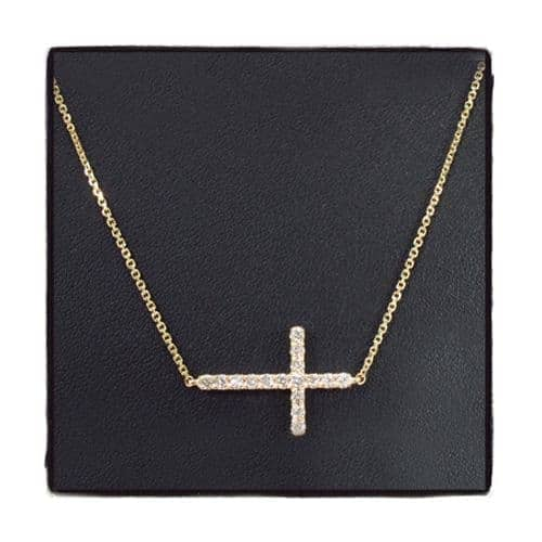 14K Gold Prong Diamond Cross Crucifix Necklace 32223 Diamond