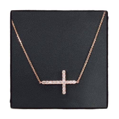 14K Gold Prong Diamond Cross Crucifix Necklace 32224 Diamond