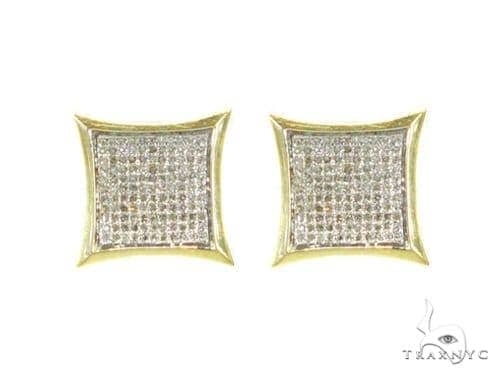 Yellow Gold Pave SQ Earrings Stone