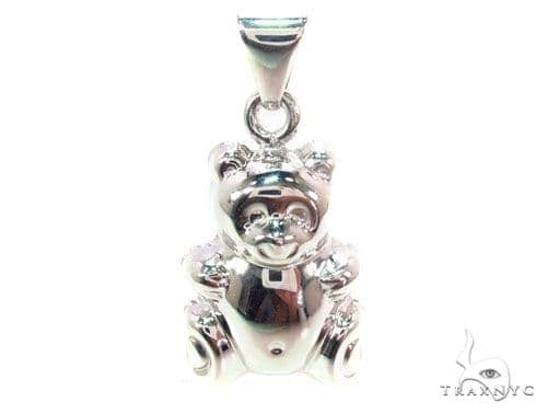 White Silver Bear Pendant 36338 Metal