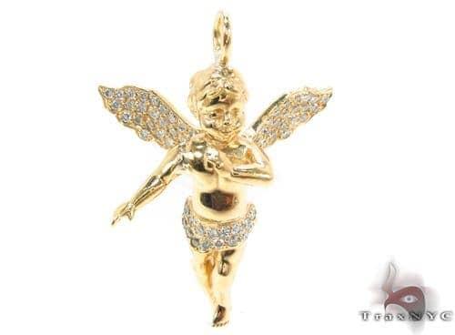 14K Gold Prong Diamond Angel Pendant 36459 Stone