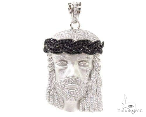 Jesus Crown of Thorns Silver Matte Pendant 36531 Metal