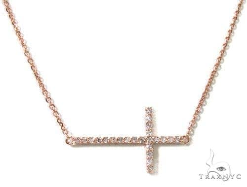 14K Gold Prong Diamond Cross Crucifix Necklace 36639 Diamond