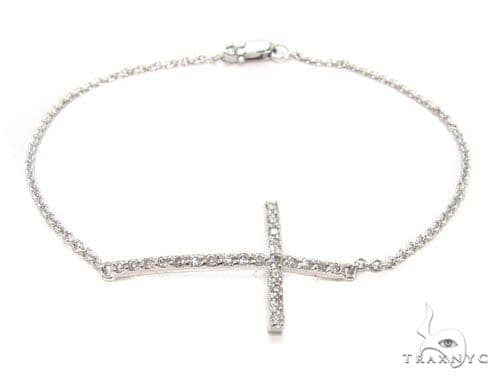 14K Gold Prong Diamond Cross Crucifix Bracelet 36640 Diamond