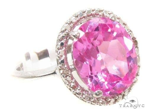 Pink Topaz Diamond Silver Ring 36824 Anniversary/Fashion