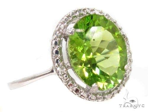 Green Gemstone Diamond Silver Ring 36828 Anniversary/Fashion