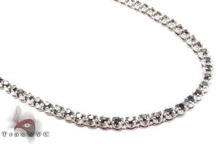 White Gold Round Cut Prong Black Diamond Chain 28 Inches, 4mm, 45.3 Grams 36882 Diamond