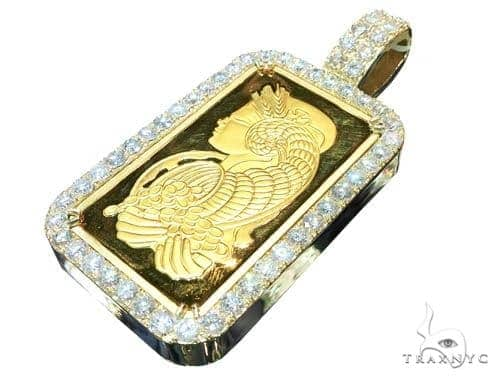 10 Ounce Gold Pamp Suisse Bar Diamond Pendant Metal
