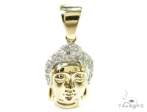 Buddha Head Diamond Pendant 37144 Metal