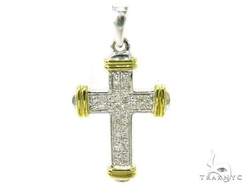 Prong Diamond Silver Cross 37150 Silver
