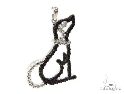Bezel Diamond Dog Silver Pendant 37154 Metal