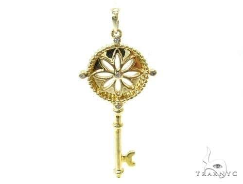 Bezel Diamond Key Silver Pendant 37155 Metal