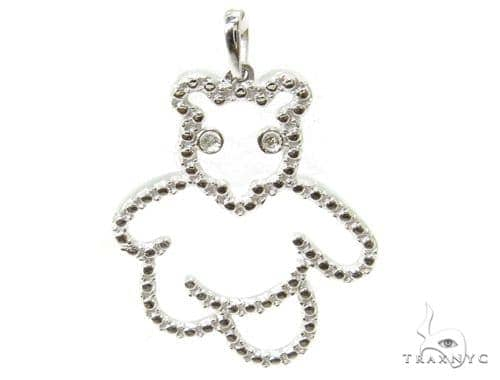 Bezel Diamond Bear Silver Pendant 37158 Metal