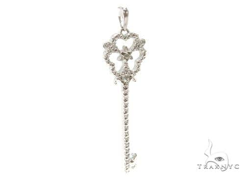 Prong Diamond Key Silver Pendant 37168 Metal