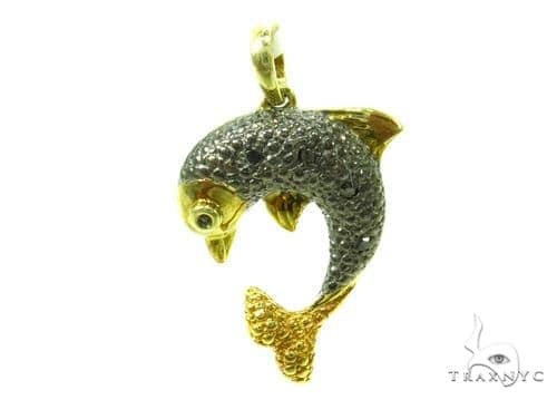 Prong Diamond Dolphin Silver Pendant 37175 Metal