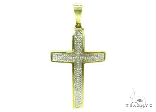 Prong Diamond Silver Cross Crucifix 37181 Silver