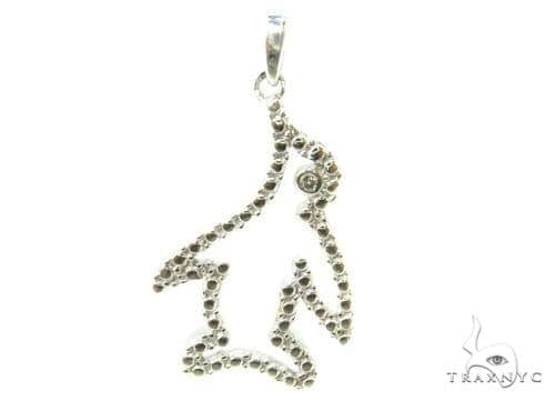 Bezel Diamond Penguin Silver Pendant 37188 Metal