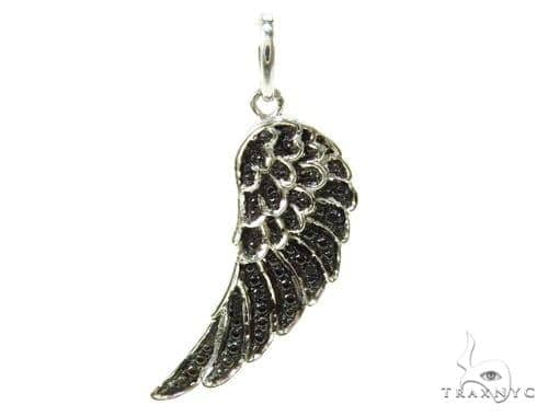 Prong Diamond Feather Silver Pendant 37190 Metal