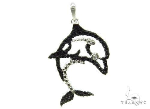 Bezel Diamond Dolphin Silver Pendant 37198 Metal