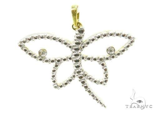 Bezel Diamond Silver Butterfly Pendant 37201 Metal