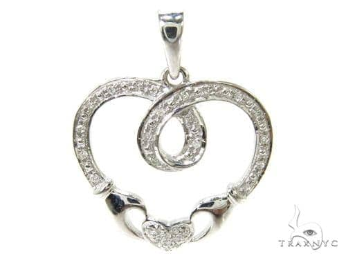 Prong Diamond Silver Heart Pendant 37204 Metal