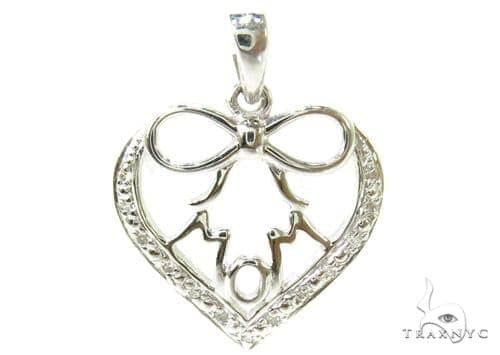 Prong Diamond Silver Pendant 37206 Metal