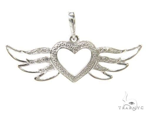 Prong Diamond Heart Silver Pendant 37210 Metal