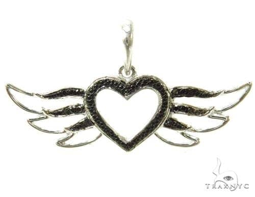 Prong Black Diamond Heart Silver Pendant 37211 Metal