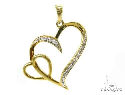 Prong Diamond Silver Heart Pendant 37212 Metal