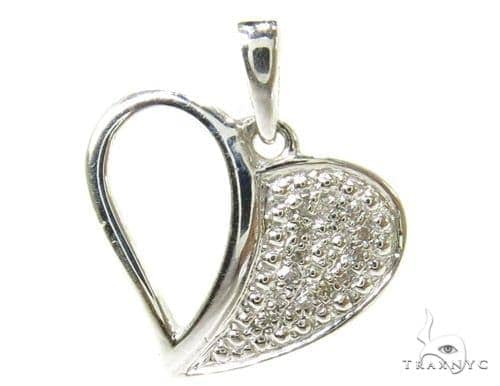 Prong Diamond Heart Silver Pendant 37214 Metal